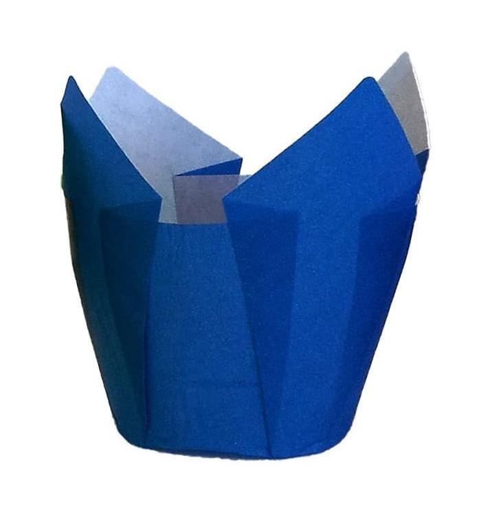 Cápsula Muffin Tulipa Antigordura 80 mm Azul (125 Uds)