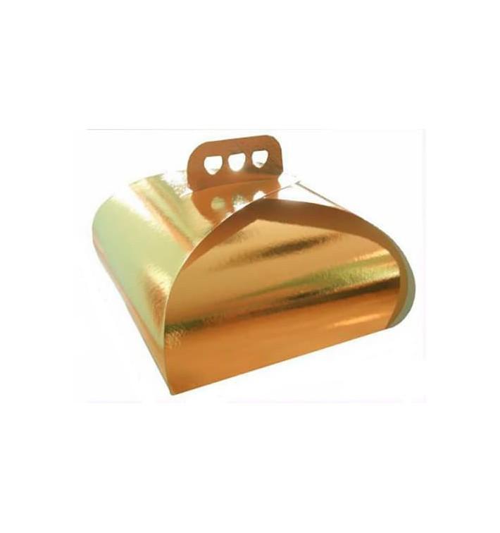 Caixa Cartolina Bolo Ouro Laço 27,5x27,5x14 cm (50 Uds)