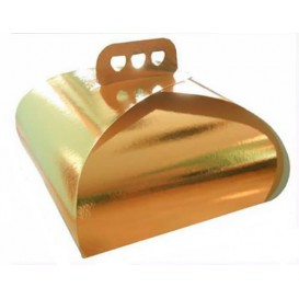 Caixa Cartolina Bolo Ouro Laço 30,5x30,5x14 cm (100 Uds)