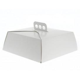 Caixa Cartolina Bolo Quadrada Branca 34,5x34,5x10 cm (100 Uds)