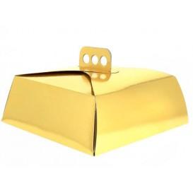 Caixa Cartolina Bolo Quadrada Ouro 34,5x34,5x10 cm (100 Uds)