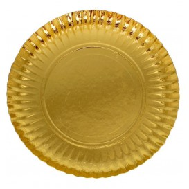 Prato de Cartão Redondo Ouro 100 mm (100 Uds)