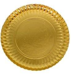 Prato de Cartão Redondo Ouro 270 mm (100 Uds)
