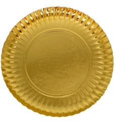 Prato de Cartão Redondo Ouro 270 mm (400 Uds)
