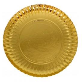 Prato de Cartão Redondo Ouro 380 mm (250 Uds)