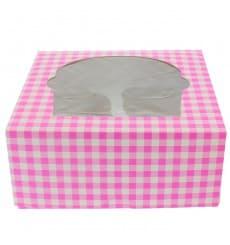Caixa 4 Cupcakes Rosa 17,3x16,5x7,5cm (140 Unidades)