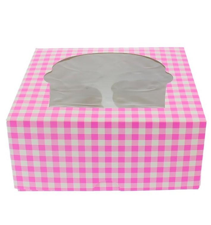 Caixa 4 Cupcakes Rosa 17,3x16,5x7,5cm (20 Unidades)