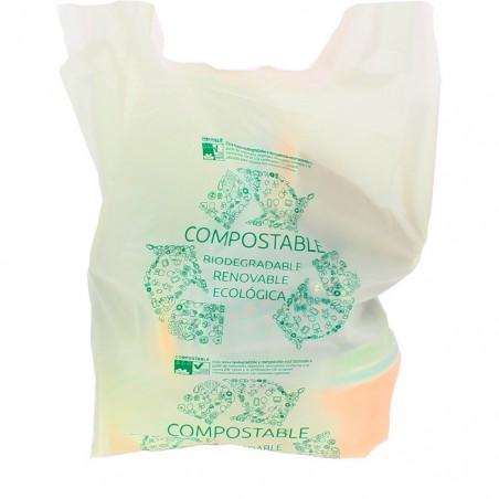 Saco Plastico Alça Biodegradável 100% 40x50cm (100 Uds)