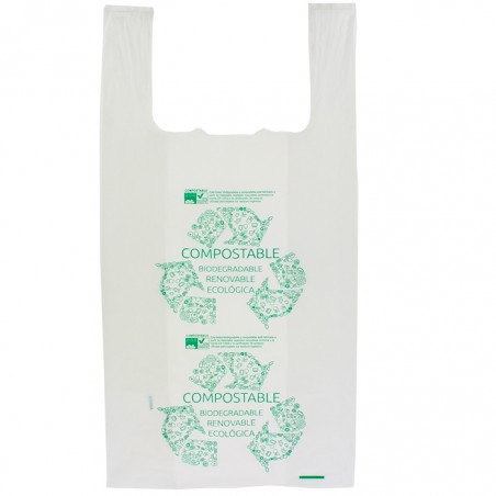 Saco Plastico Alça Biodegradável 100% 40x50cm (1500 Uds)