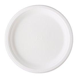 Prato Cana-de-açúcar Bagaço Branco Ø25,3 cm (50 Uds)