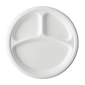 Prato Cana-de-açúcar Bagaço 3C Branco Ø25,3 cm (500 Uds)