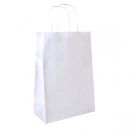 Saco Papel Kraft Branco Asas 80g 26+14x32cm (50 Uds)