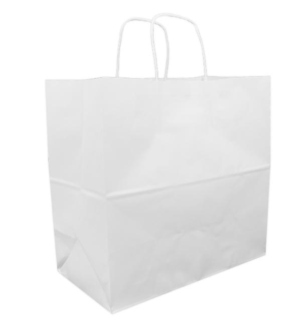 Saco Papel Kraft Branco Asas 90g 32+16x31cm (50 Uds)