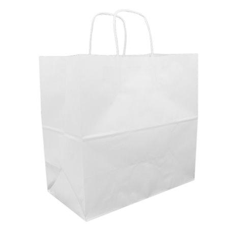 Saco Papel Kraft Branco Asas 90g 32+16x31cm (250 Uds)