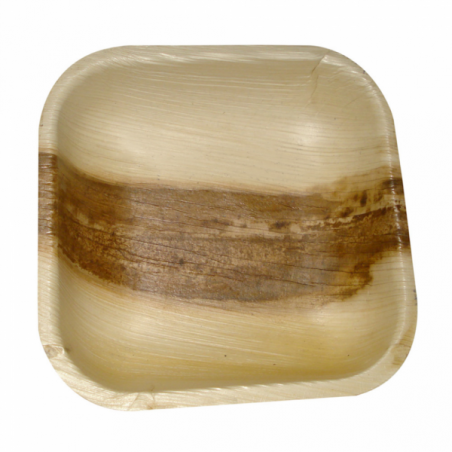Prato quadrado de folha de palmeira 11,5x11,5x1,5cm (25 Uds)