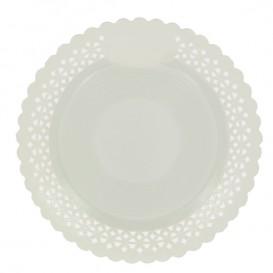 Prato de Cartão Redondo Renda Branco 25 cm (50 Uds)