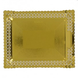Bandeja de Cartão Renda Ouro 27x32 cm (100 Uds)