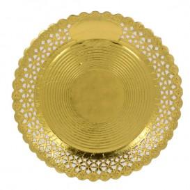 Prato de Cartão Redondo Renda Ouro 25 cm (50 Uds)