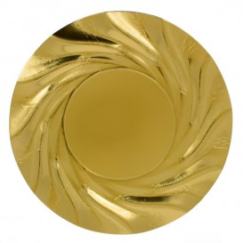 Prato de Cartão Redondo Ouro Acuario 350 mm (100 Uds)