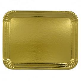 Bandeja de Cartão Rectangular Ouro 16x22 cm (100 Uds)