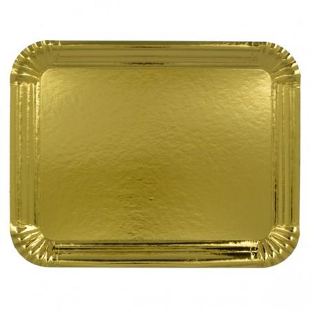 Bandeja de Cartão Rectangular Ouro 22x28cm (600 Uds)
