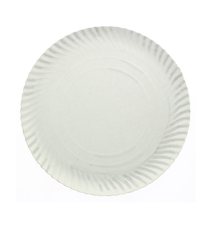 Prato de Cartão Redondo Branco 210 mm 500g/m2 (800 Uds)