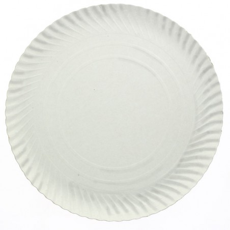 Prato de Cartão Redondo Branco 230 mm 600g/m2 (100 Uds)
