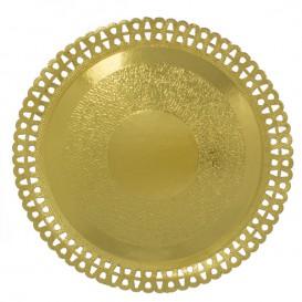 Prato de Cartão Redondo Renda Ouro 330 mm (50 Uds)