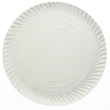 Prato de Cartão Redondo Branco 180 mm (100 Uds)