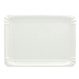 Bandeja de Cartão Rectangular Branca 18x24 cm (100 Uds)