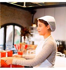 Touca Cozinheiro Rede e Viseira Algodão Branco (25 Uds)