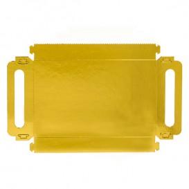 Bandeja Cartão Retângulo Ouro Alças 32x7,5 cm (100 Uds)