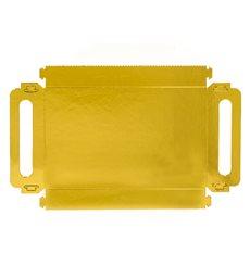 Bandeja Cartão Retângulo Ouro Alças 30x12 cm (100 Uds)
