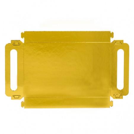 Bandeja Carton con Asas Metalizada 16x23cm (5 Unidades)