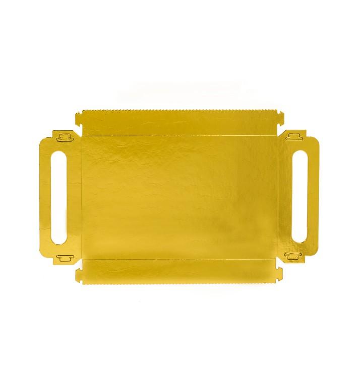 Bandeja Cartão Retângulo Ouro Asas 22x28 cm (100 Uds)