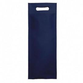 Saco Não Tecido para Garrafa de Vinho Azul Marinho 17+10x40cm (25 Uds)