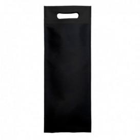 Saco Não Tecido para Garrafa de Vinho Preto 17+10x40cm (25 Uds)