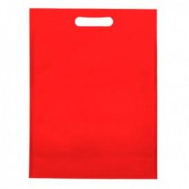 Saco Não Tecido com Asas Vazadas Vermelho 30+10x40cm (25 Uds)