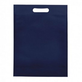Saco Não Tecido com Asas Vazadas Azul Marinho 30+10x40cm (25 Uds)