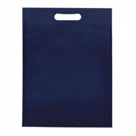 Saco Não Tecido com Asas Vazadas Azul Marinho 30+10x40cm (200 Uds)