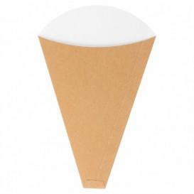 "Cone de Carton Kraft ""Crêpes"" 12x2,5x19cm 300g/m2 (2000 Uds)"