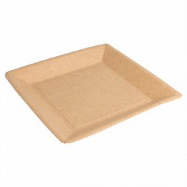 Prato de Papel Biocoated Natural Quadrado 23cm (20 Uds)