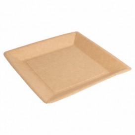 Prato de Papel Biocoated Natural Quadrado 23cm (400 Uds)