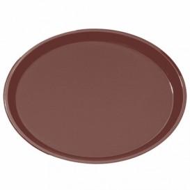 Bandeja PP Oval Anti Deslizante Marrom 67,0x55,5cm (6 Uds)