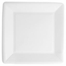 Prato de Papel Biocoated Branco Quadrado 18cm (400 Uds)