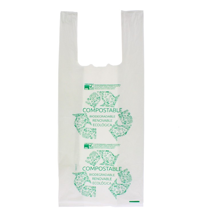 Saco Plastico Alça Biodegradável 100% 35x50cm (100 Uds)