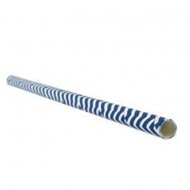 Palhinha Direita Papel Azul Branco Ø6mm 20cm (100 Uds)