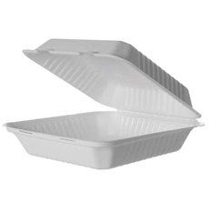 Embalagem Cana-de-açúcar Branco com PLA 23x23x7,5cm (50 Uds)