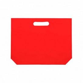 Saco Não Tecido com Asas Vazadas Vermelho 34+8x26cm (200 Uds)