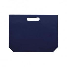 Saco Não Tecido com Asas Vazadas Azul Eléctrico 34+8x26cm (25 Uds)